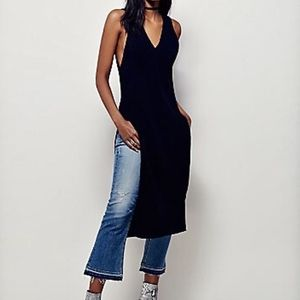 Free People black Ribbed Maxi Vest Sweater Dress
